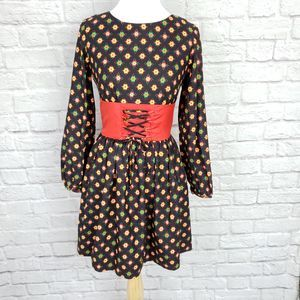 Vintage Vicky Vaughn Lace Up Waist Fit Flare Dress